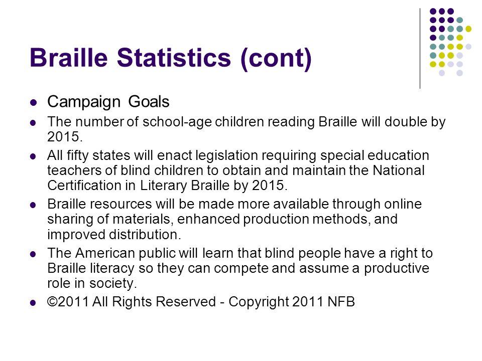 Braille Statistics (cont)