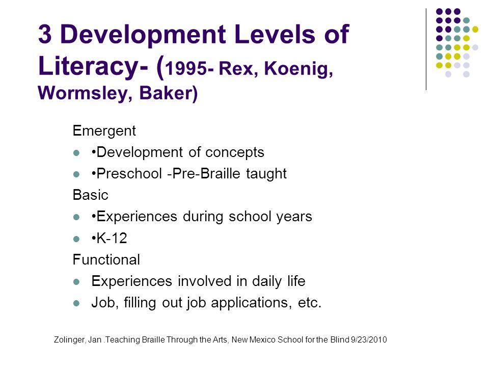 3 Development Levels of Literacy- (1995- Rex, Koenig, Wormsley, Baker)