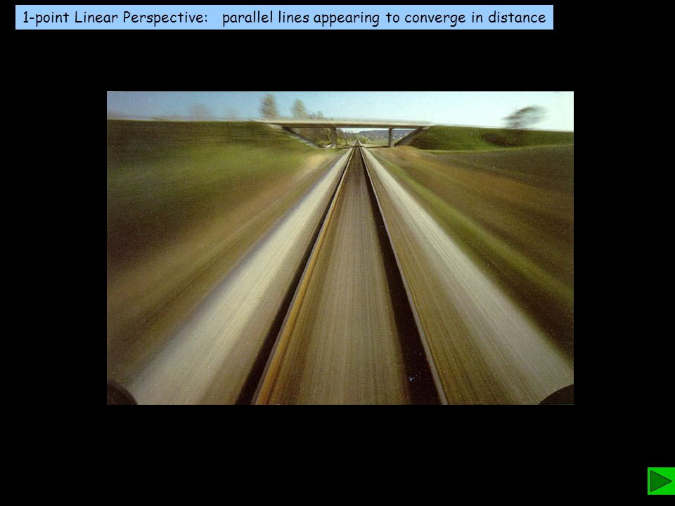 1-point Linear Perspective: parallel lines appearing to converge in distance