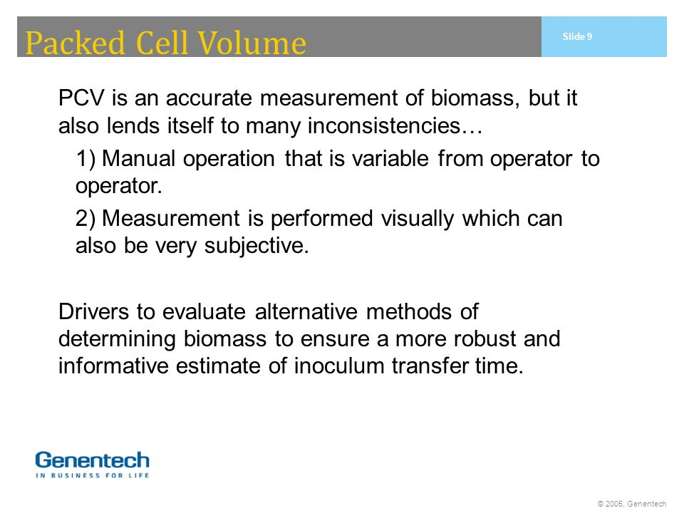 Packed Cell Volume PCV is an accurate measurement of biomass, but it also lends itself to many inconsistencies…