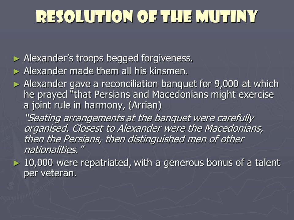 Resolution of the mutiny