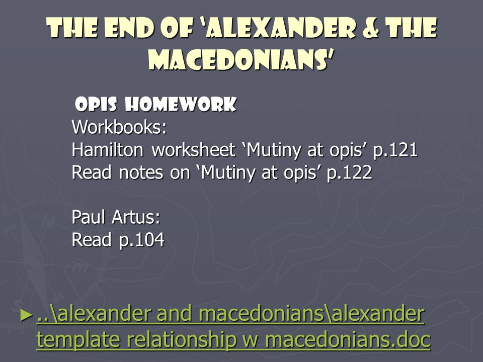 The end of 'alexander & the macedonians'