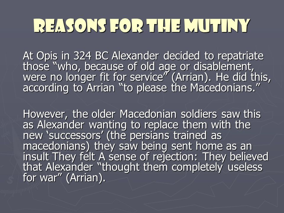 reasons for the mutiny