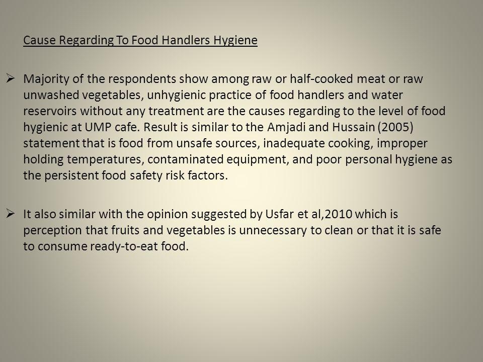 Cause Regarding To Food Handlers Hygiene