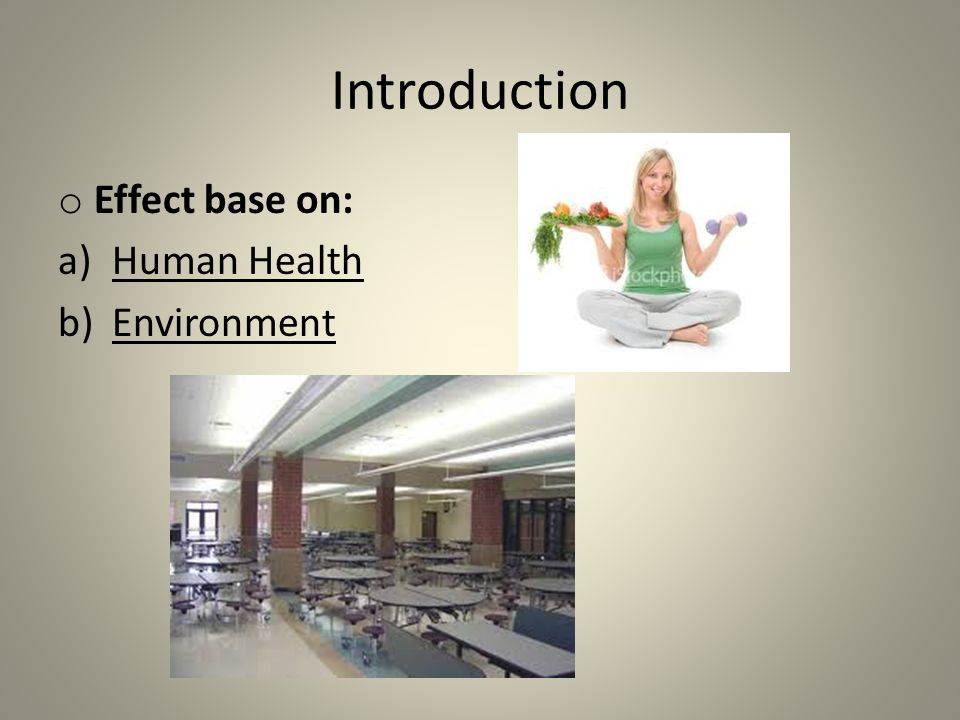Introduction Effect base on: Human Health Environment