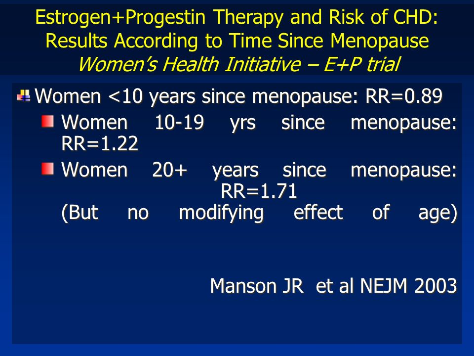 Estrogen+Progestin Therapy and Risk of CHD: Results According to Time Since Menopause Women's Health Initiative – E+P trial