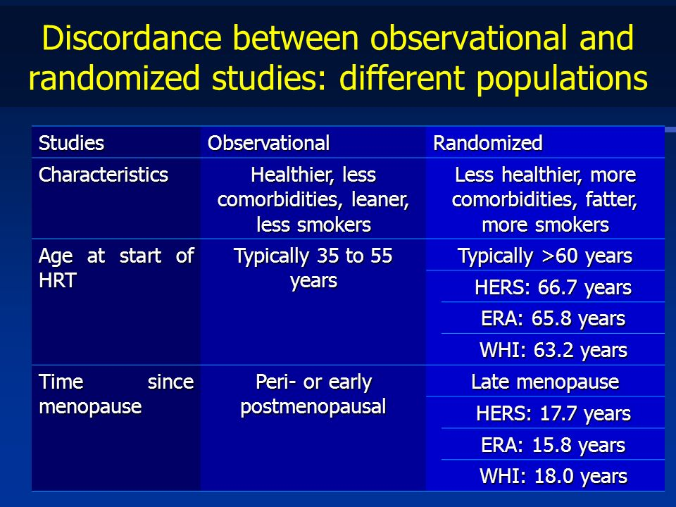 Discordance between observational and randomized studies: different populations