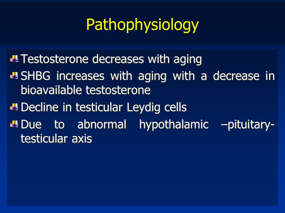 Pathophysiology Testosterone decreases with aging