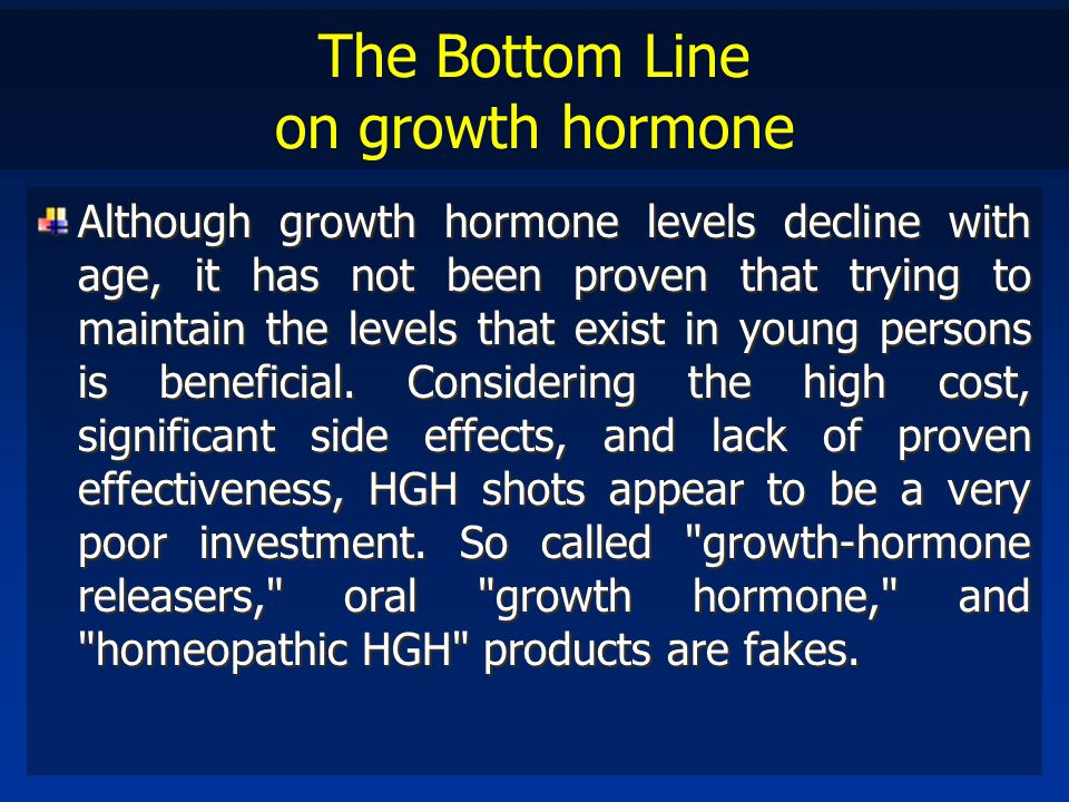 The Bottom Line on growth hormone