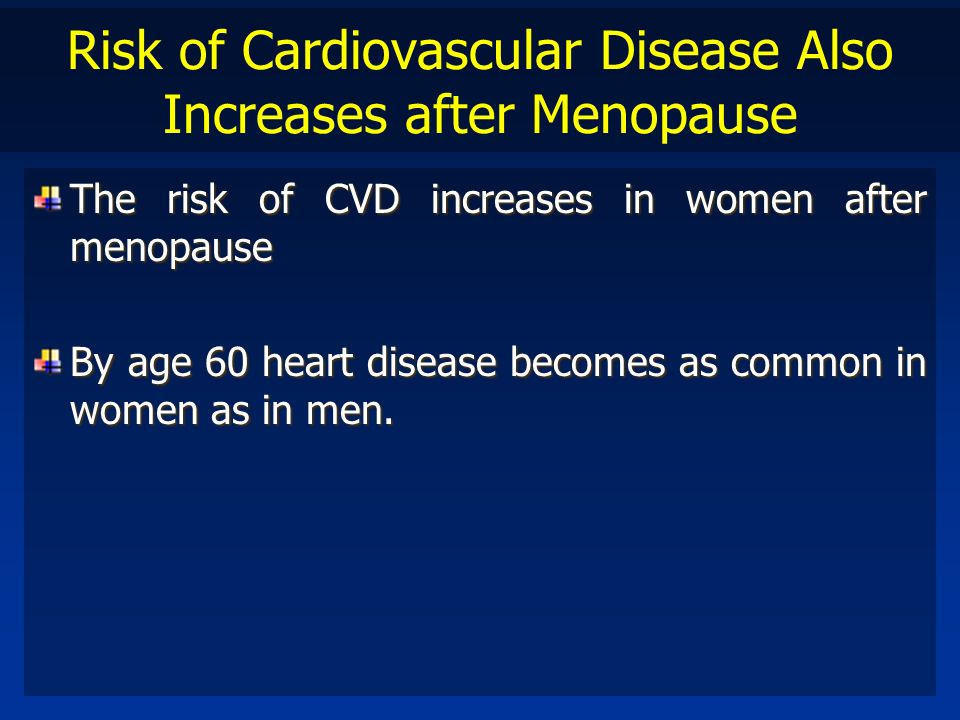 Risk of Cardiovascular Disease Also Increases after Menopause