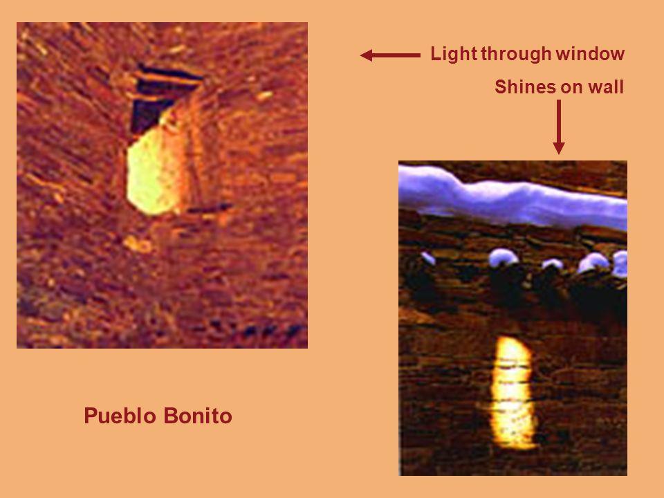 Light through window Shines on wall Pueblo Bonito