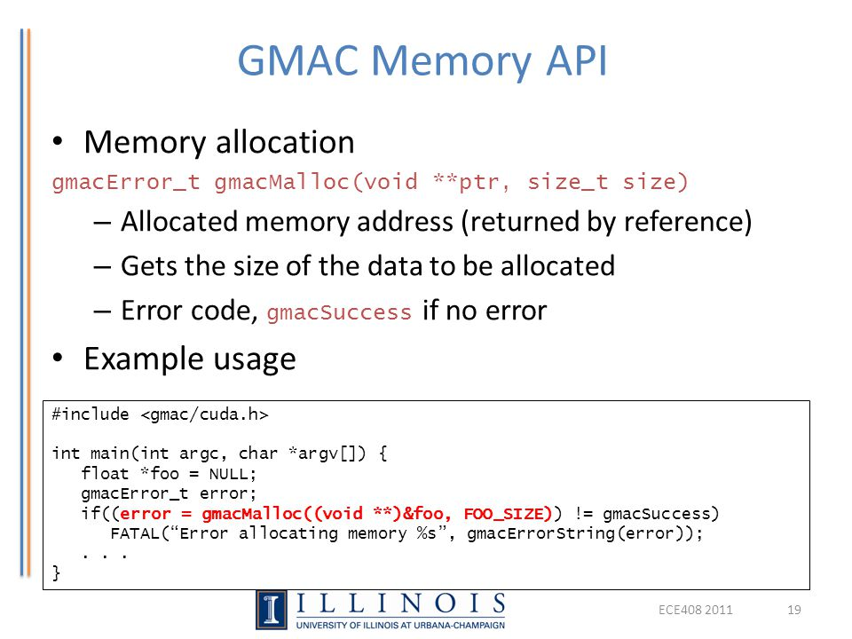 GMAC Memory API Memory allocation Example usage