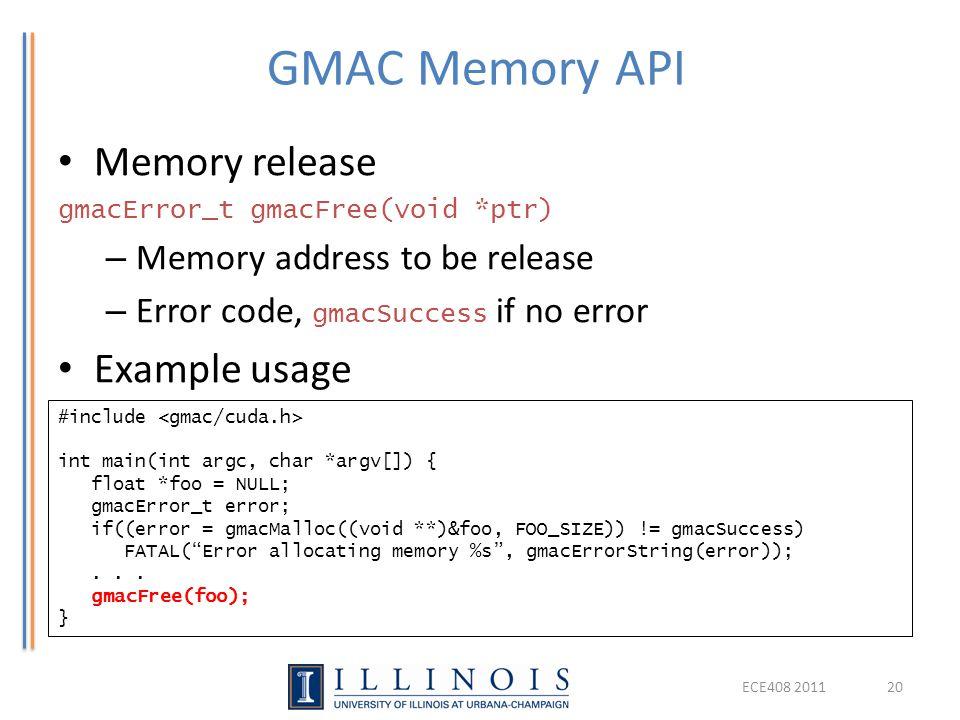 GMAC Memory API Memory release Example usage