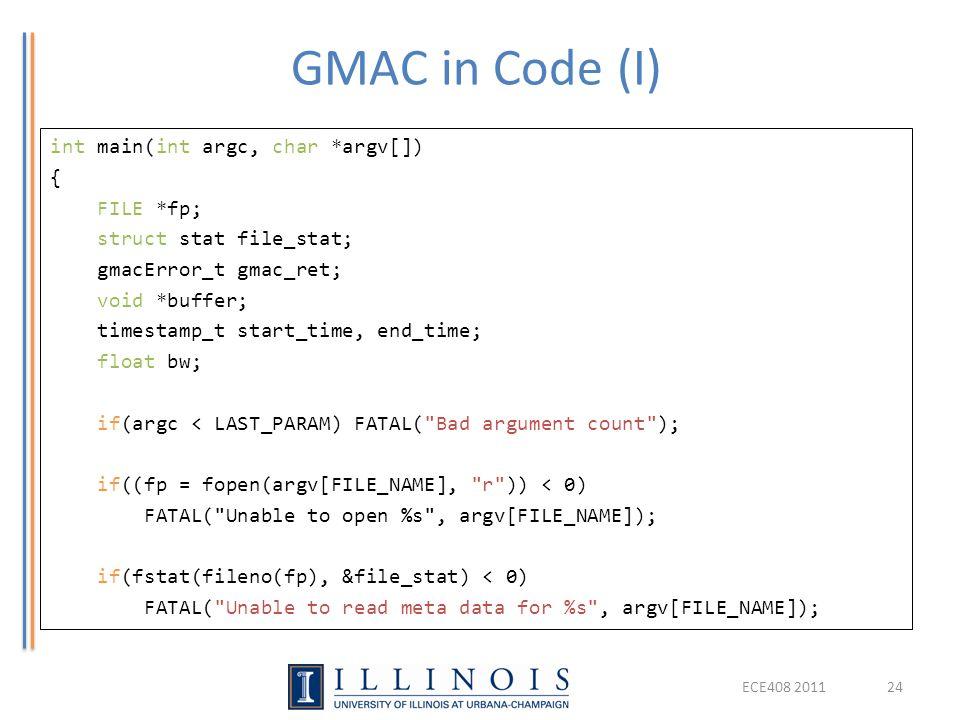 GMAC in Code (I)