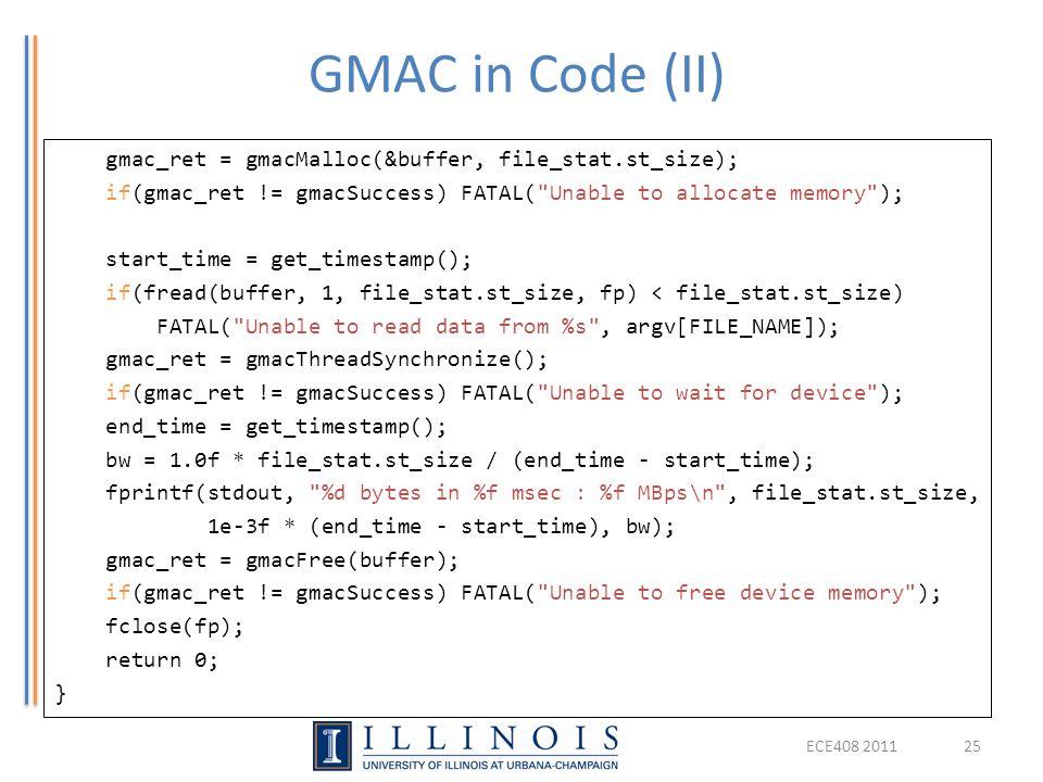 GMAC in Code (II)