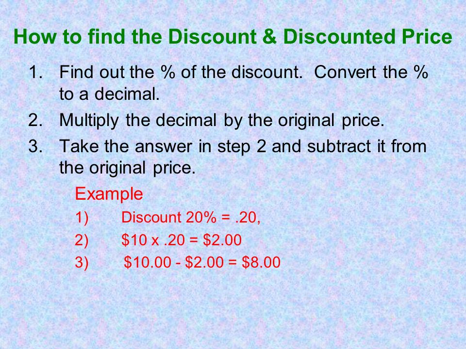 How to find the Discount & Discounted Price