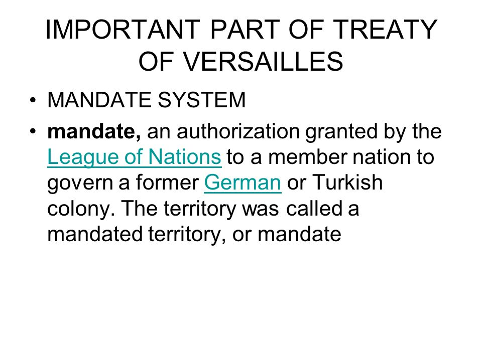 IMPORTANT PART OF TREATY OF VERSAILLES