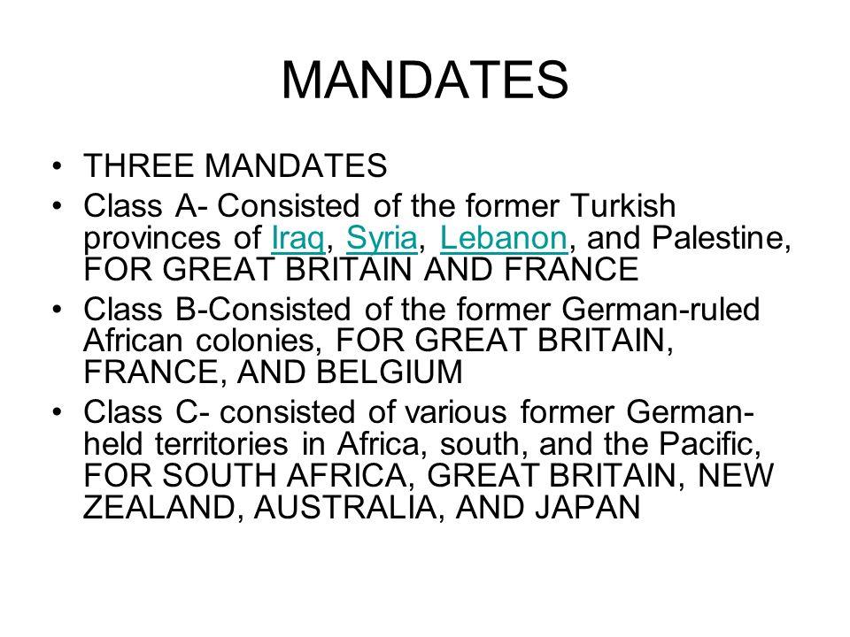 MANDATES THREE MANDATES