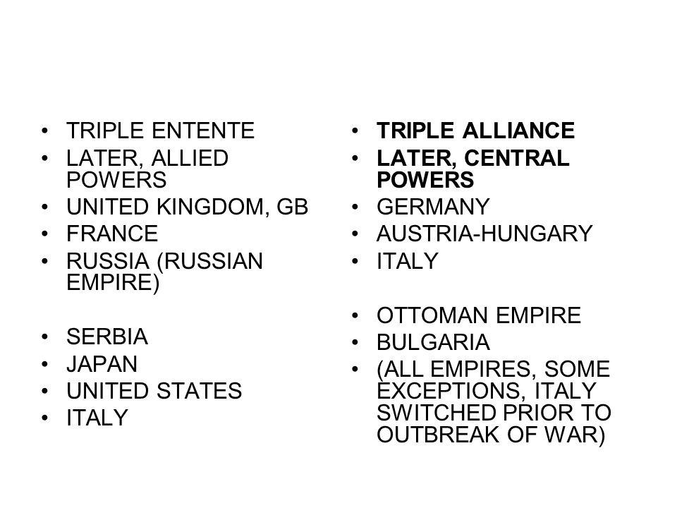 TRIPLE ENTENTE LATER, ALLIED POWERS. UNITED KINGDOM, GB. FRANCE. RUSSIA (RUSSIAN EMPIRE) SERBIA.