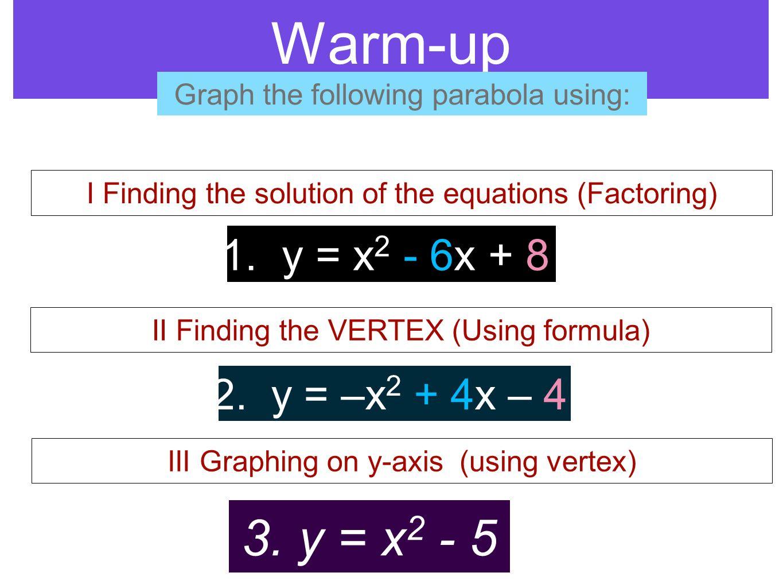 Warm-up 3. y = x2 - 5 1. y = x2 - 6x + 8 2. y = –x2 + 4x – 4