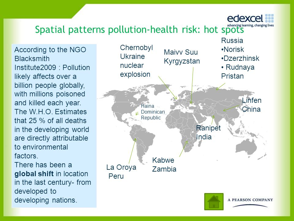 Spatial patterns pollution-health risk: hot spots