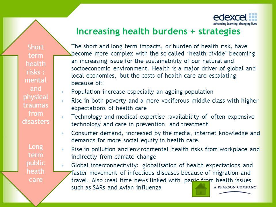 Increasing health burdens + strategies