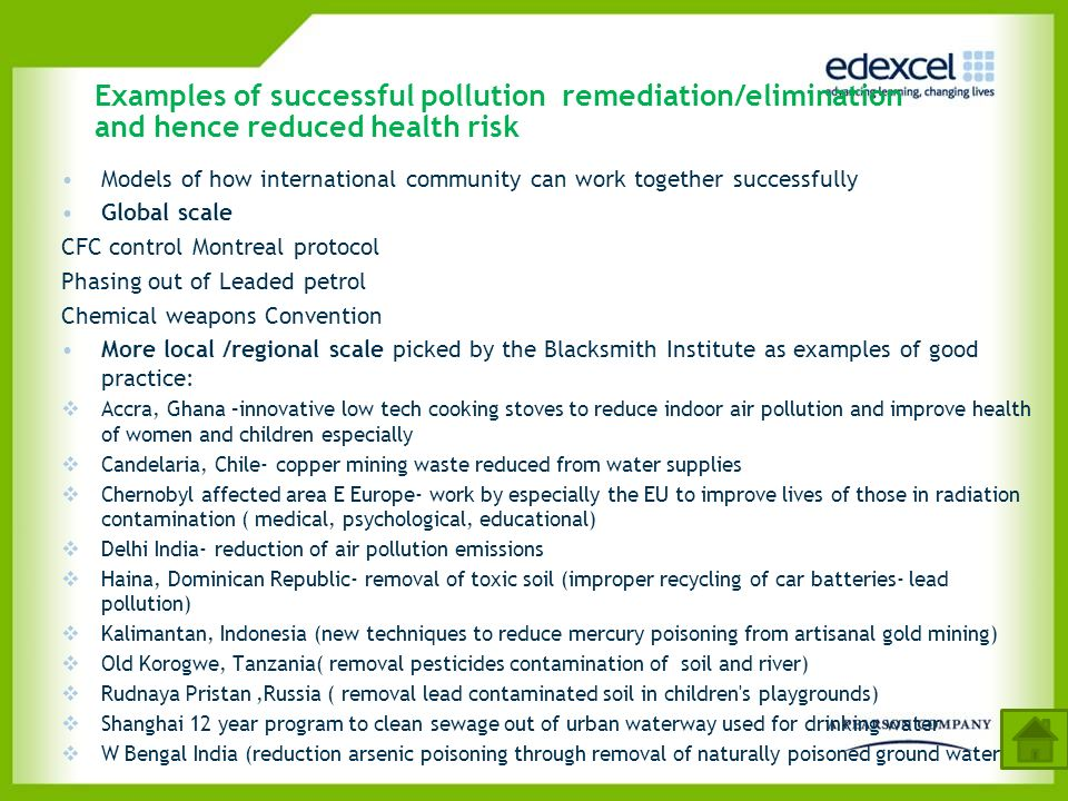Examples of successful pollution remediation/elimination and hence reduced health risk
