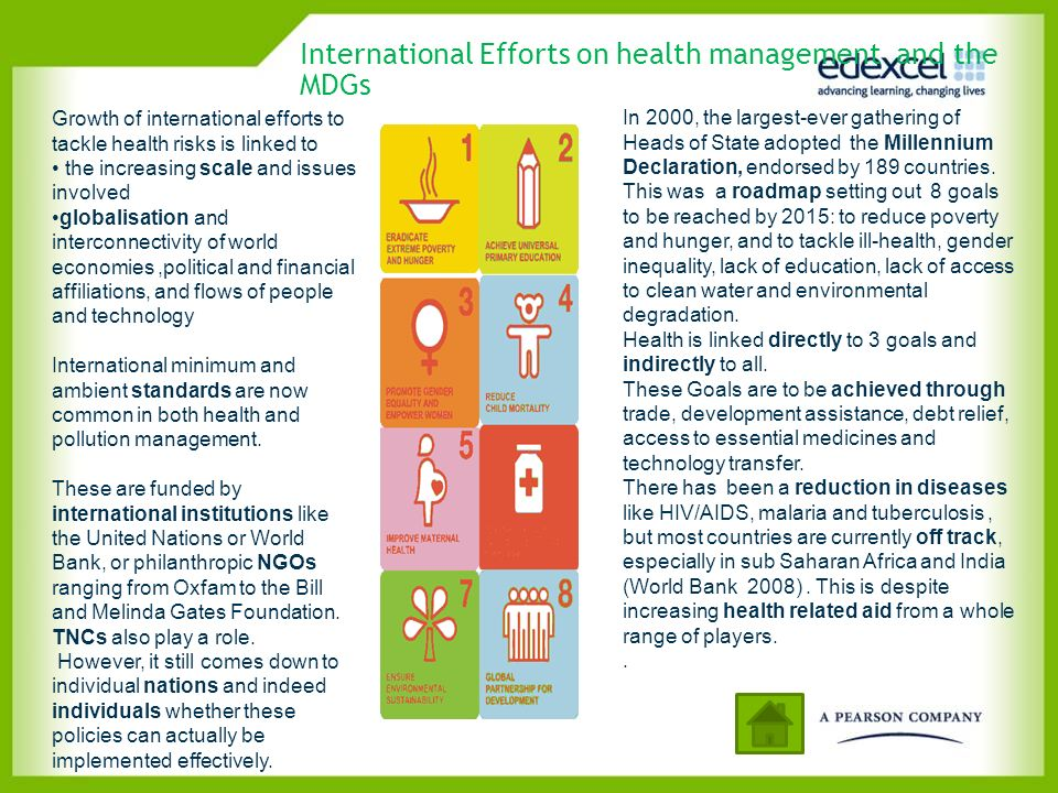 International Efforts on health management and the MDGs
