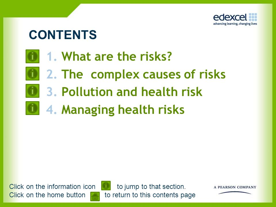 The complex causes of risks Pollution and health risk