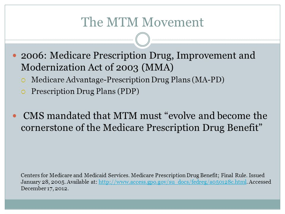 The MTM Movement 2006: Medicare Prescription Drug, Improvement and Modernization Act of 2003 (MMA)