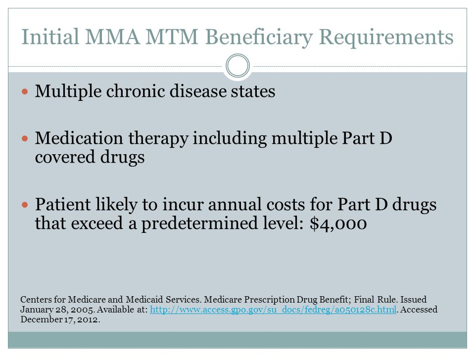 Initial MMA MTM Beneficiary Requirements