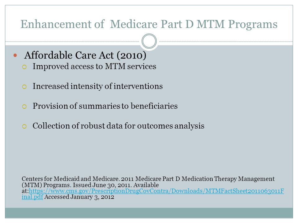 Enhancement of Medicare Part D MTM Programs