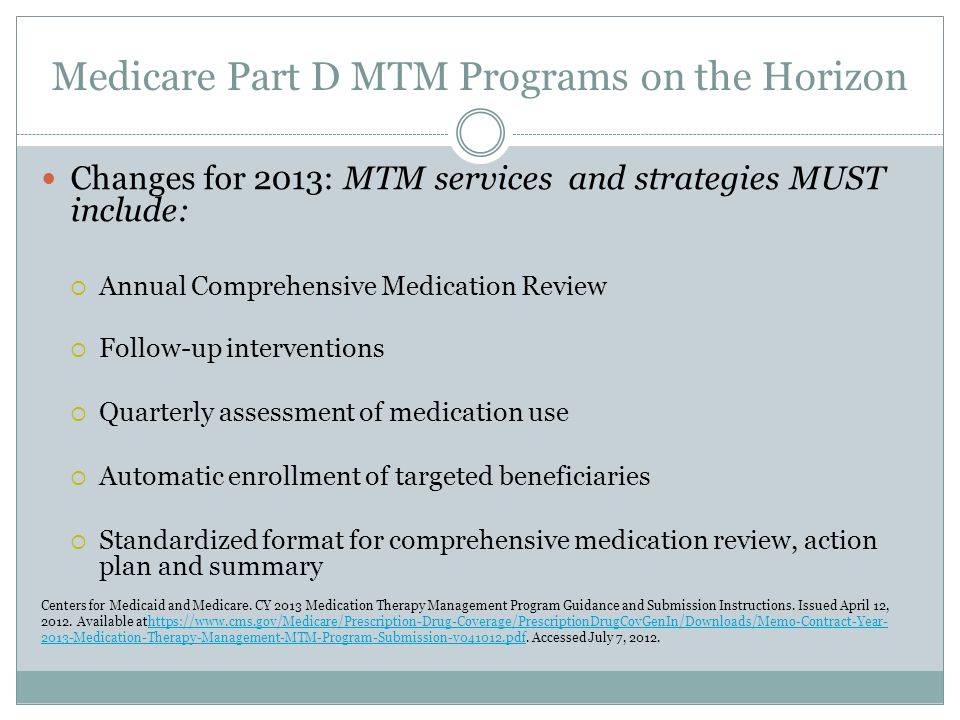 Medicare Part D MTM Programs on the Horizon