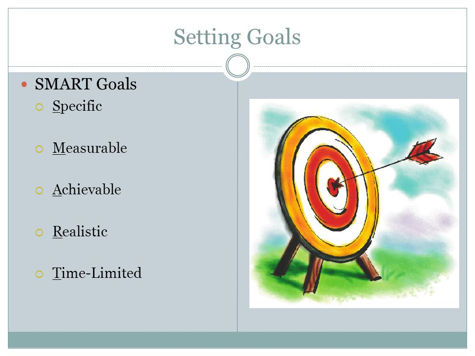 Setting Goals SMART Goals Specific Measurable Achievable Realistic