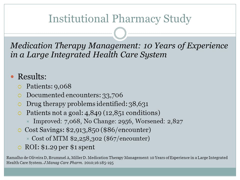 Institutional Pharmacy Study
