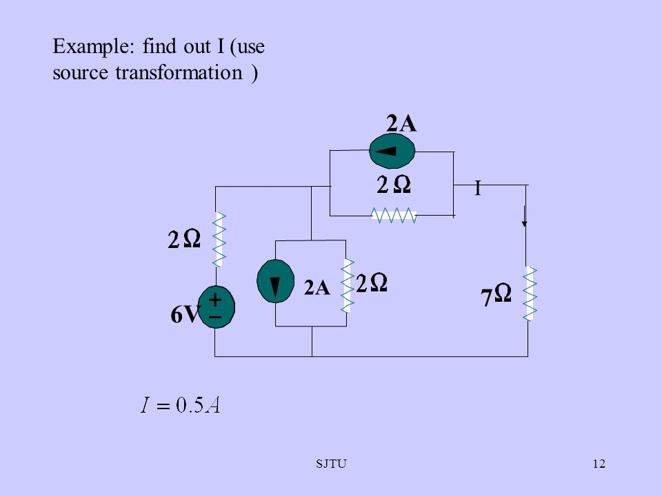 Example: find out I (use source transformation )