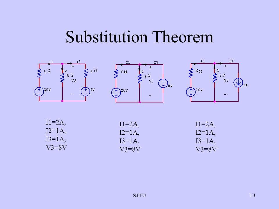 Substitution Theorem I1=2A, I2=1A, I3=1A, V3=8V