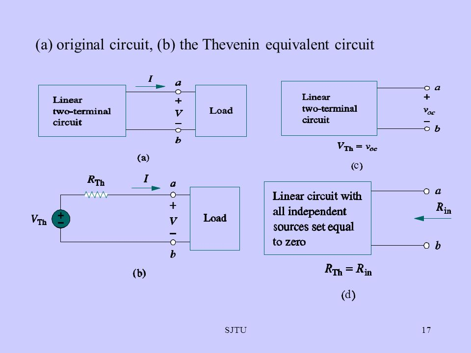 (a) original circuit, (b) the Thevenin equivalent circuit