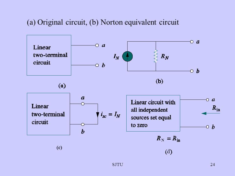 (a) Original circuit, (b) Norton equivalent circuit