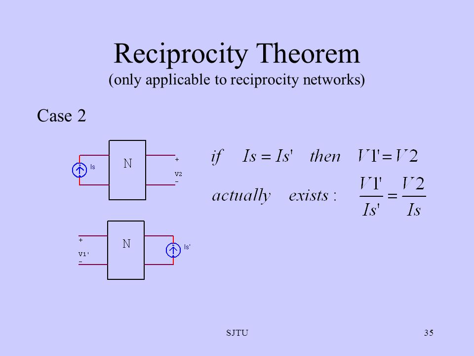 Reciprocity Theorem (only applicable to reciprocity networks)