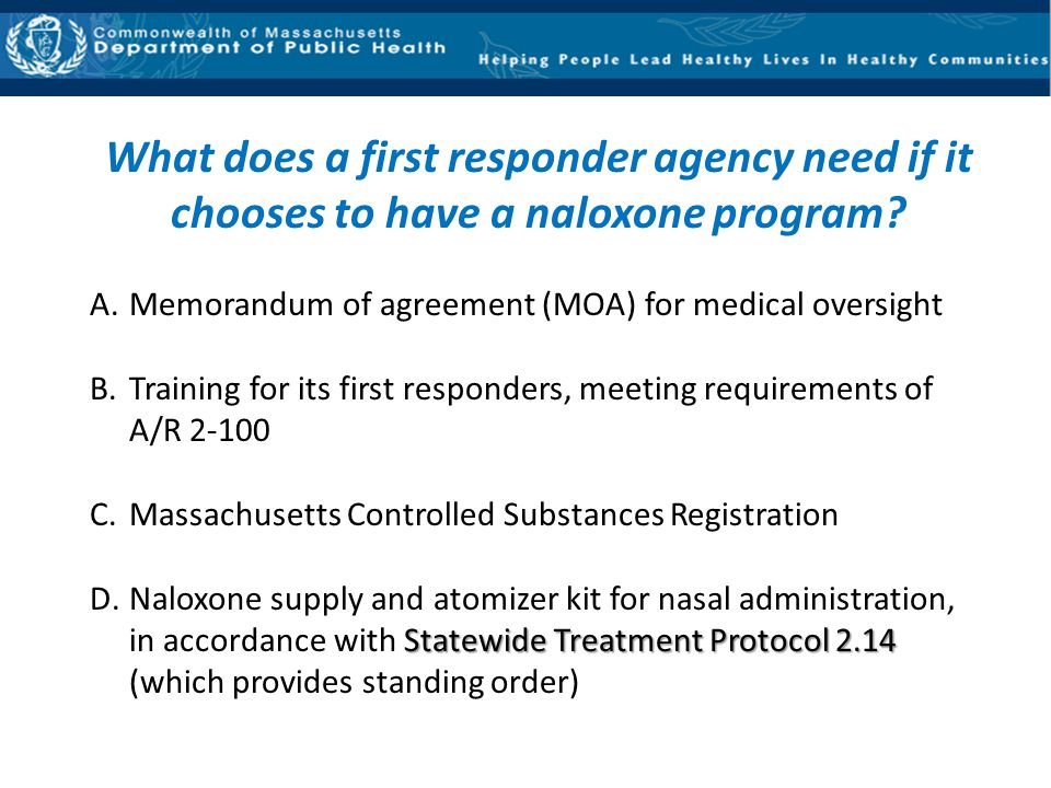 What does a first responder agency need if it chooses to have a naloxone program