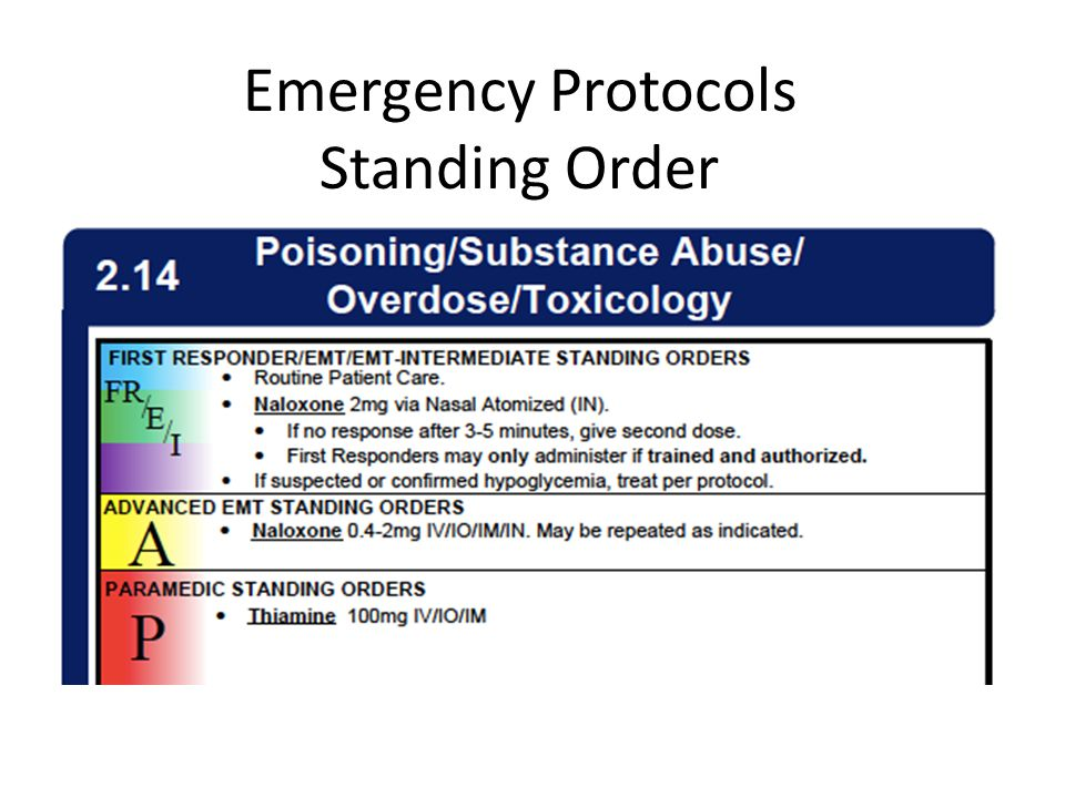 Emergency Protocols Standing Order
