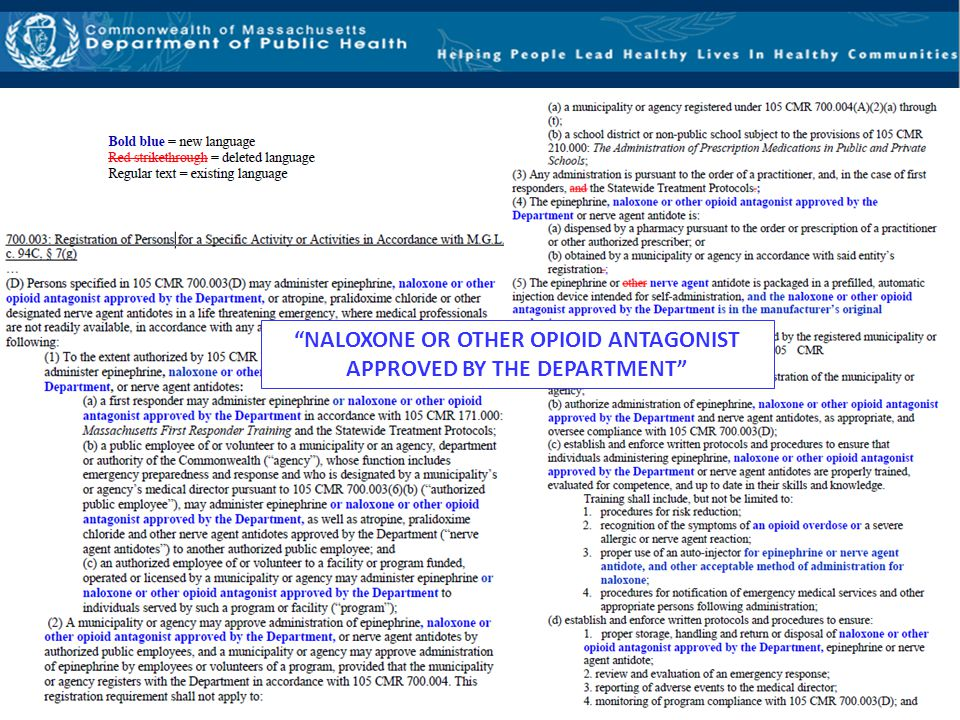 NALOXONE OR OTHER OPIOID ANTAGONIST APPROVED BY THE DEPARTMENT