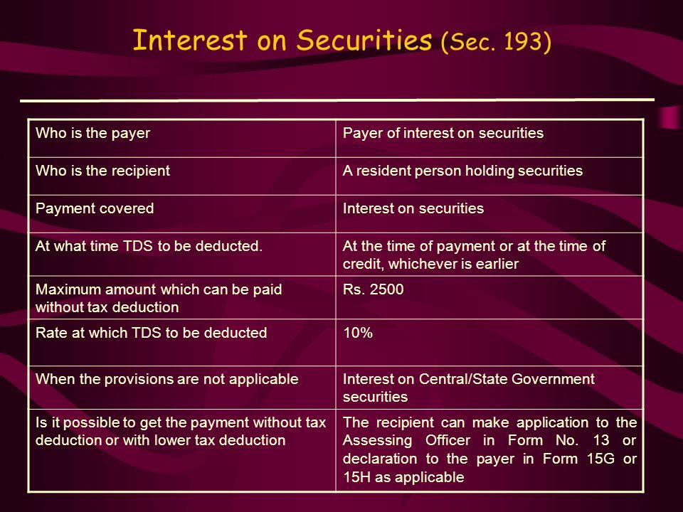 Interest on Securities (Sec. 193)