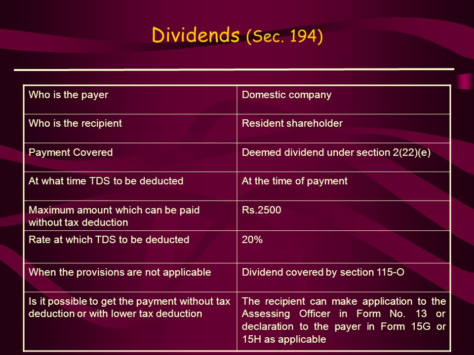 Dividends (Sec. 194) Who is the payer Domestic company
