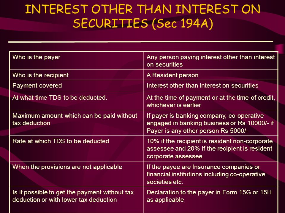 INTEREST OTHER THAN INTEREST ON SECURITIES (Sec 194A)
