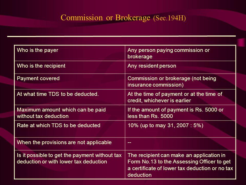 Commission or Brokerage (Sec.194H)