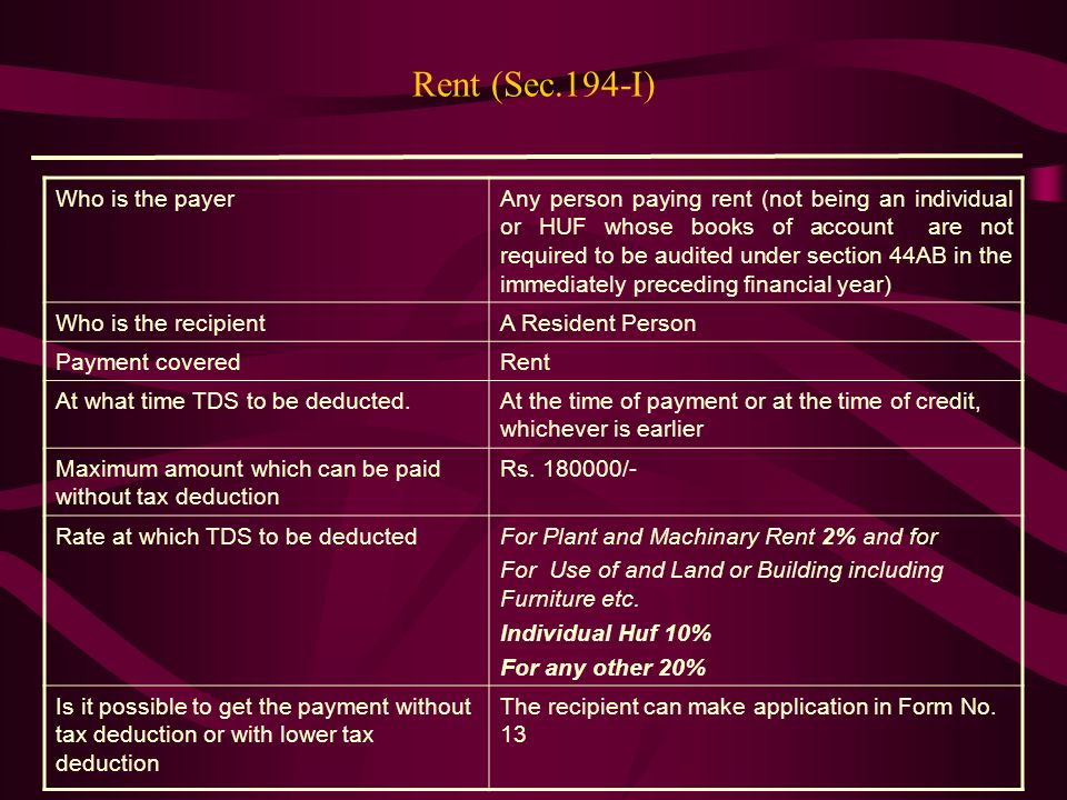 Rent (Sec.194-I) Who is the payer