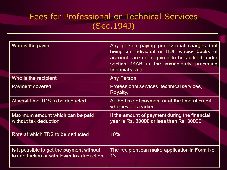 Fees for Professional or Technical Services (Sec.194J)