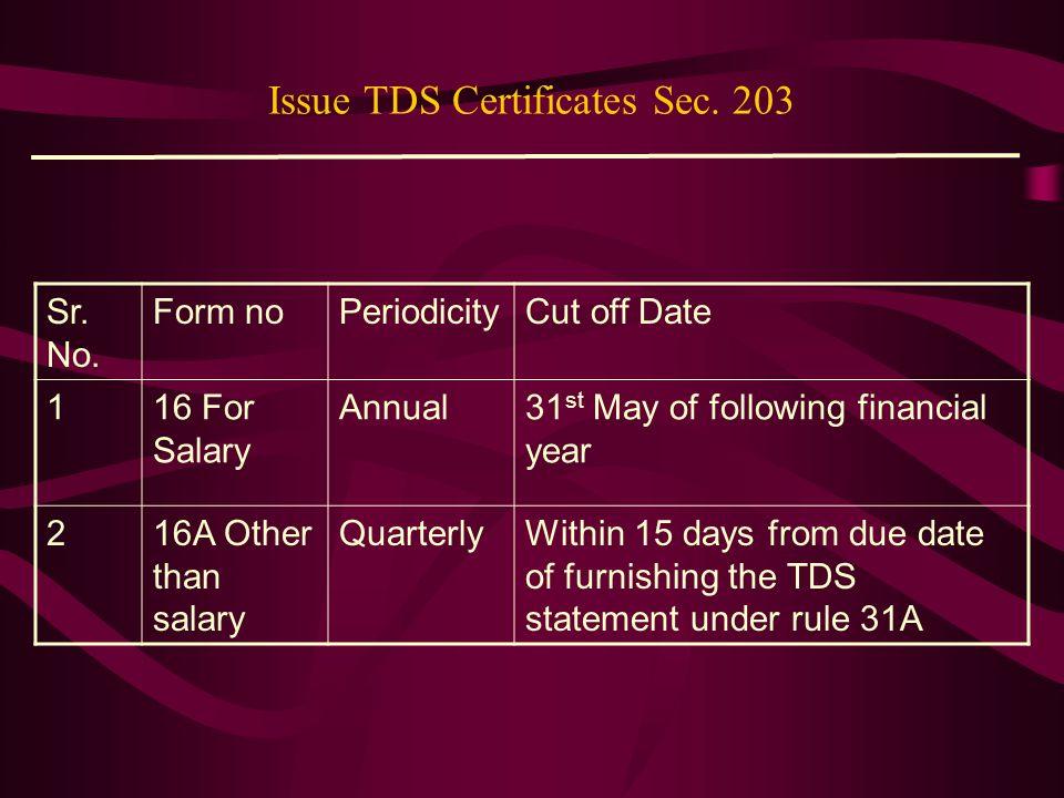 Issue TDS Certificates Sec. 203